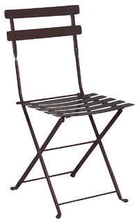 French Cafe Bistro Folding Side Chair, Set Of 2, Black Frame, Steel Metal  Slats   Contemporary   Outdoor Dining Chairs   By Furnituredesignhouse