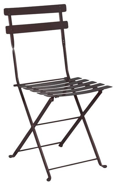 French Cafe Bistro Folding Side Chair Set of 2 Black Frame