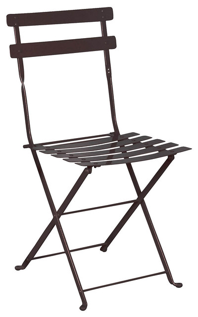 French Cafe Bistro Folding Side Chair, Set Of 2, Black Frame, Steel Metal