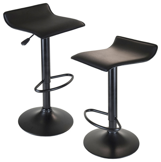 Winsome Wood 20239 Obsidian Airlift Stool Swivel Backless Black Seat And Base Contemporary Bar