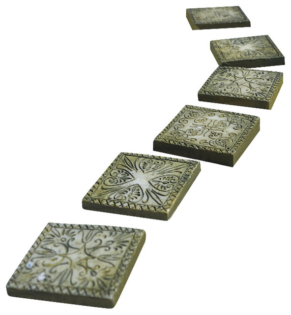 Stepping stones ancient square set of 6 for miniature for Decorative garden stones