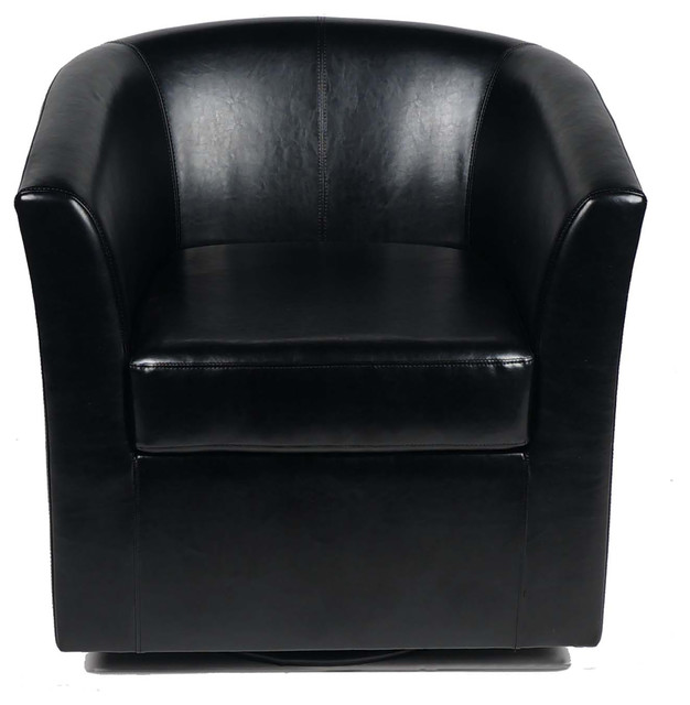 Corley Black Leather Swivel Club Chair Contemporary Armchairs And Accent  Chairs