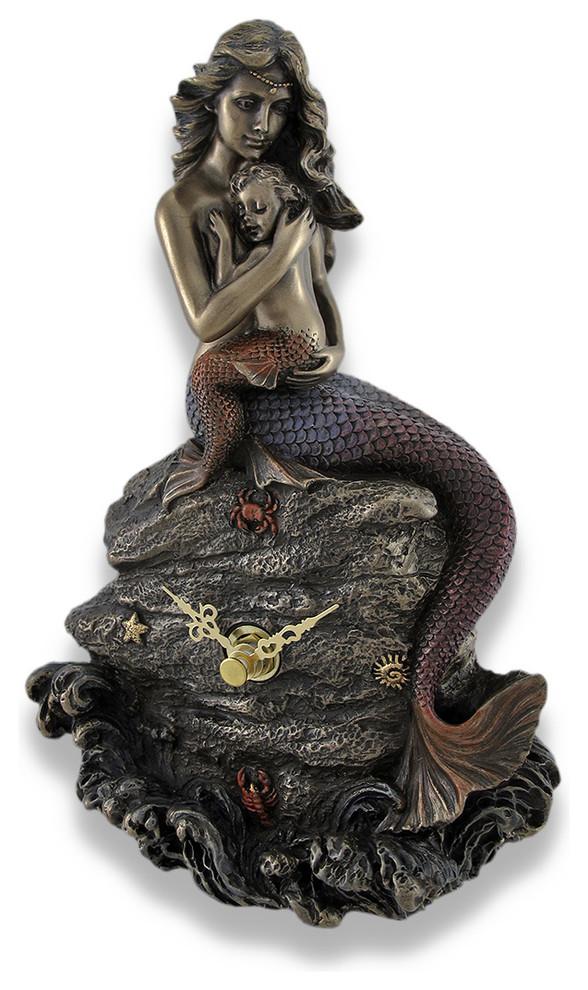 Mermaid Hand Mirror Collectible Decoration Figurine Cold Cast Bronze