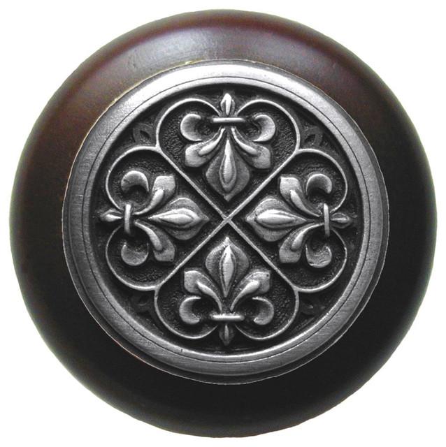 Notting Hill Decorative Hardware - Fleur-de-Lis Wood Knob, Antique Brass, Dark Walnut Wood ...