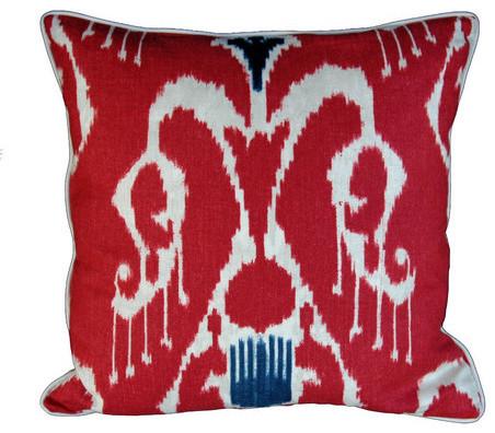 Magnificat Ikat Pillow or Fabric, Red - Pillow Folly