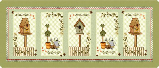 Country Birdhouses Polyamide Kitchen Rug, Medium