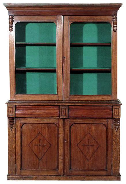 Antique Oak Victorian Bookcase Curio Cabinet - Antique Oak Victorian Bookcase Curio Cabinet - Traditional - Home
