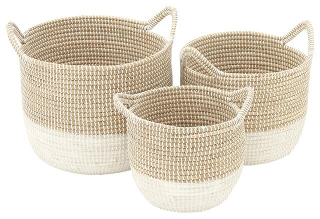 Coastal Living Seagrass Baskets, 3-Piece Set, Brown, White