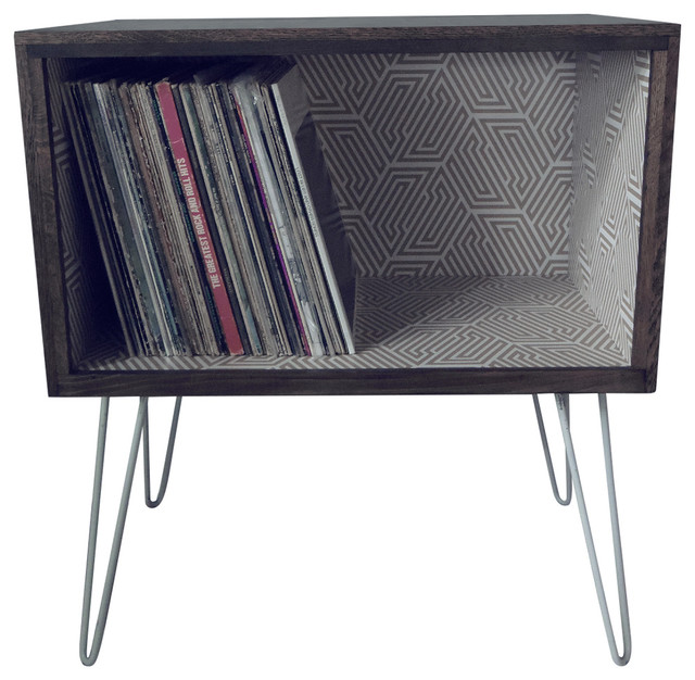 Gold Hex Pattern Record Cabinet.