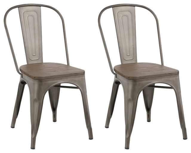 Industrial Metal Antique-Style Bronze Rustic Distress Dining Chairs, Set of  2 - Industrial Metal Antique-Style Bronze Rustic Distress Dining Chairs