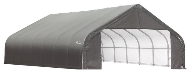 Shelter Logic Outdoor Sheltercoat Garage 28&x27;x20&x27;x20&x27;, Peak Standard, Gray.