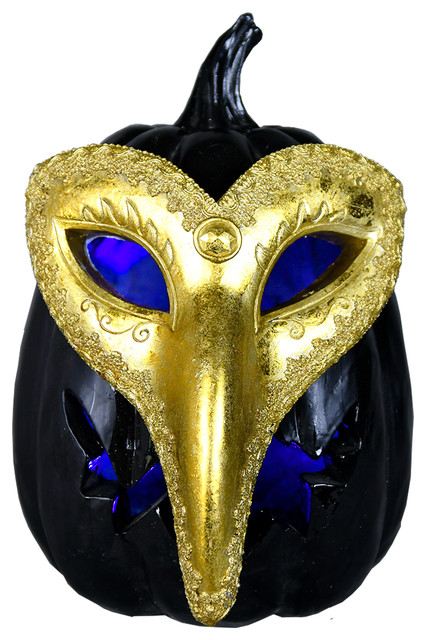 Golden Mask Pumpkin W/ Led Light, Small.