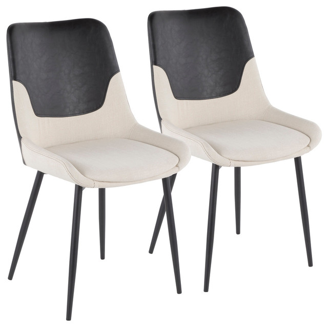 Lumisource Wayne Two-Tone Chair, Cream With Black PU Leather, Set of 2