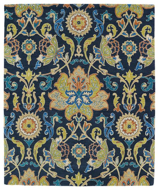 "Larissa Hand-Tufted Wool Rug, Navy, 7&x27;6""x9&x27;."