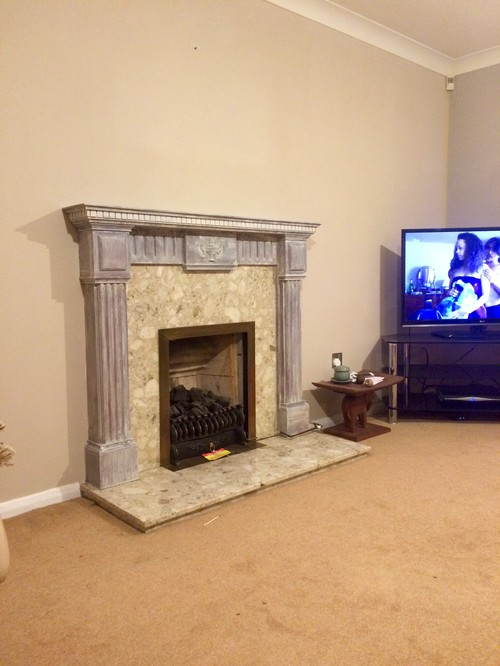 before and after fireplace surround painting