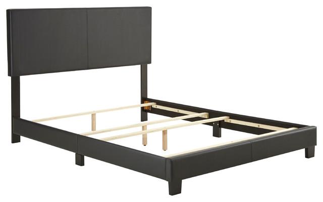 Dreams Bespoke Oliver Faux Black Leather Upholstered Platform Bed, King.