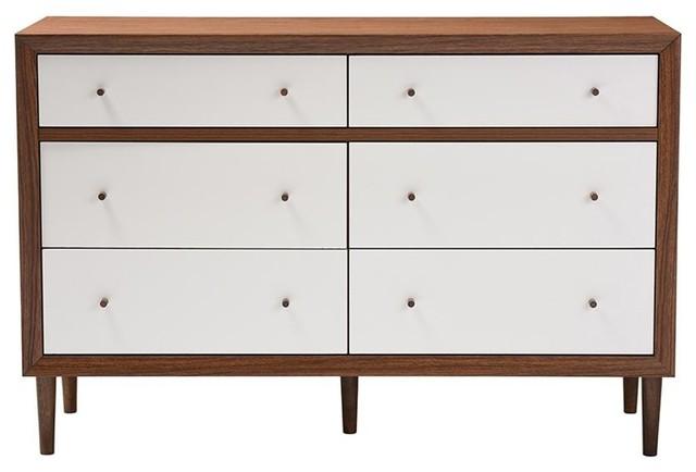 Harlow Mid-Century Modern White And Walnut Wood 6-Drawer Storage Dresser.