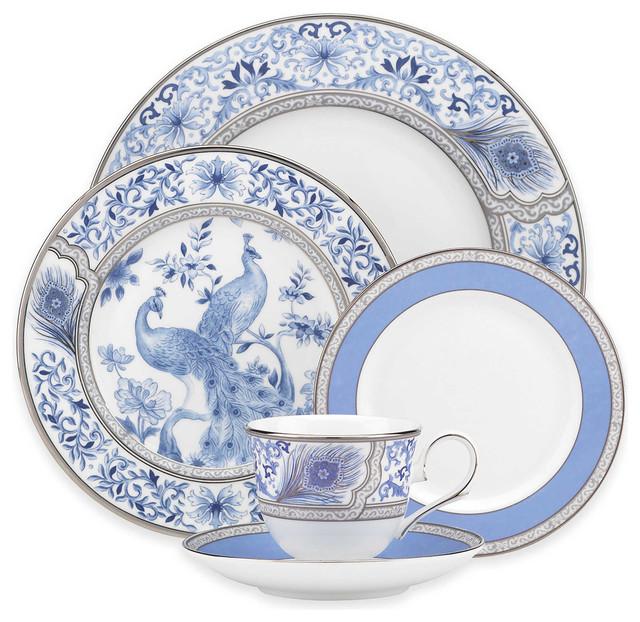 Marchesa by Lenox Sapphire Plume 40 Piece China Set  : traditional dinnerware sets from www.houzz.com size 640 x 622 jpeg 135kB