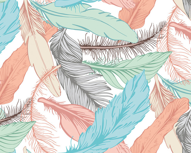 Pastel Feathers Wallpaper Mural, 240x300 cm