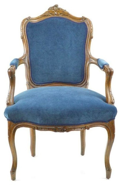 French Chair in New Blue Velvet Upholstery Victorian  : victorian armchairs and accent chairs from houzz.com size 420 x 640 jpeg 48kB
