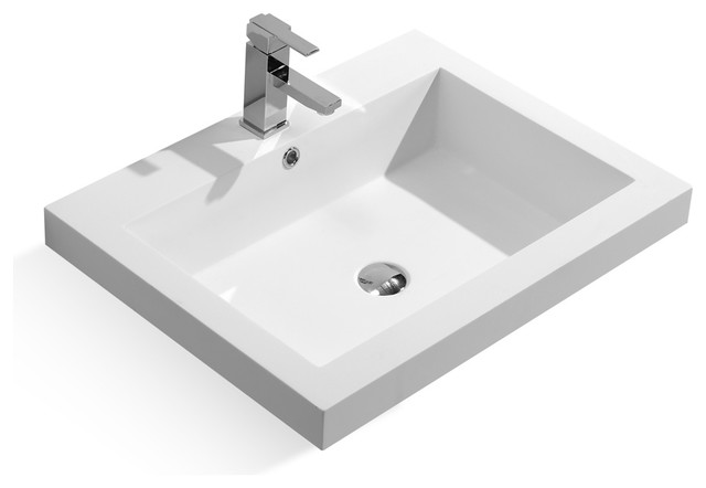 27 Stone Resin Solid Surface Rectangular Shape Bathroom Topmount Vanity Sink Contemporary Sinks By Contempo Living Inc