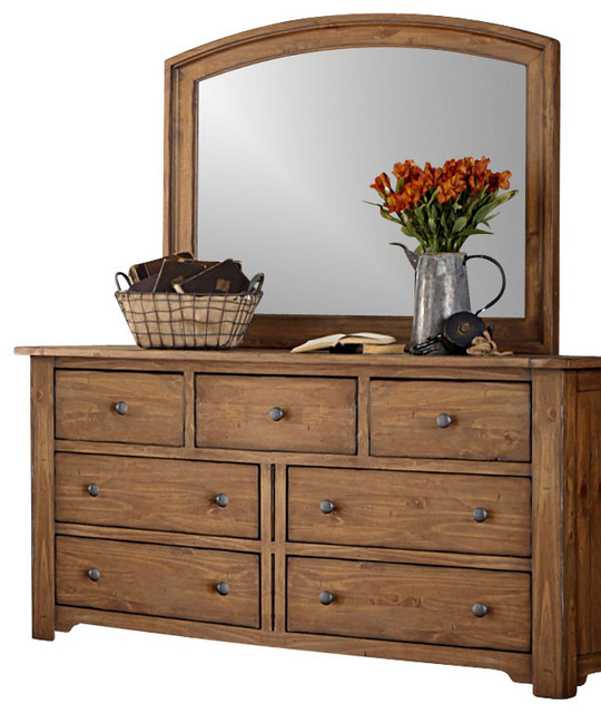 7 Drawer Dresser And Mirror Solid Wood Construction Vintage Light