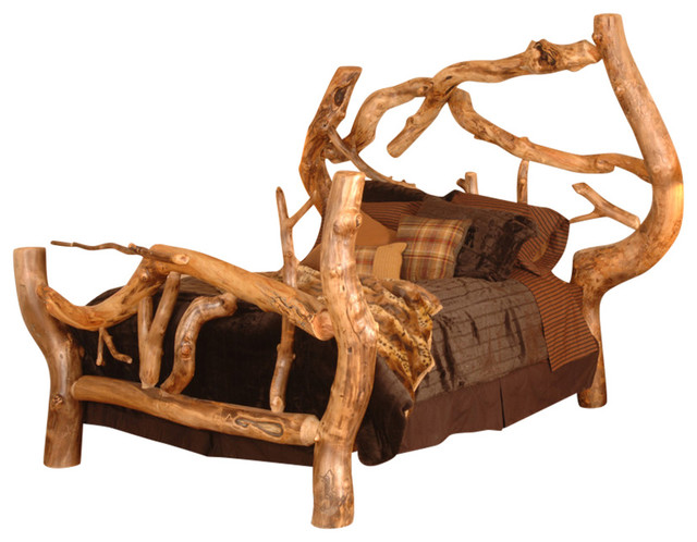 Crazy Horse Free Form Aspen Log Bed Rustic Bed Frames By