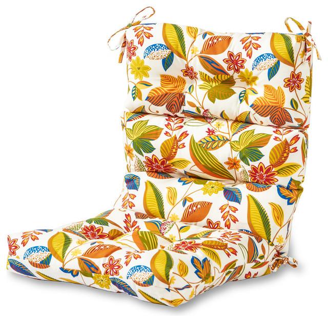 Outdoor High Back Chair Cushion, Esprit Floral