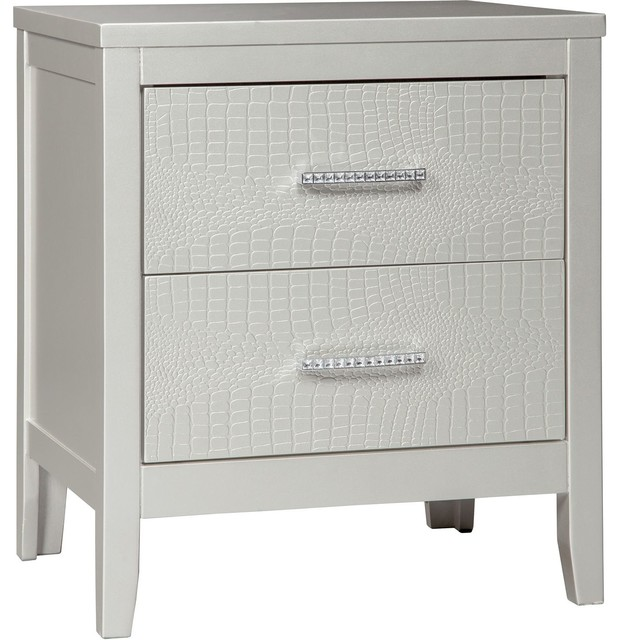Ashley Furniture Olivet Nightstand Silver Contemporary