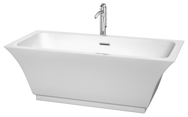"Galina 67"" White Soaking Bathtub With Floor Mounted Faucet, 67""."