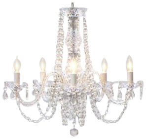 Chandeliers That Plug In: Swag Plug-In All Crystal Chandelier traditional-chandeliers,Lighting