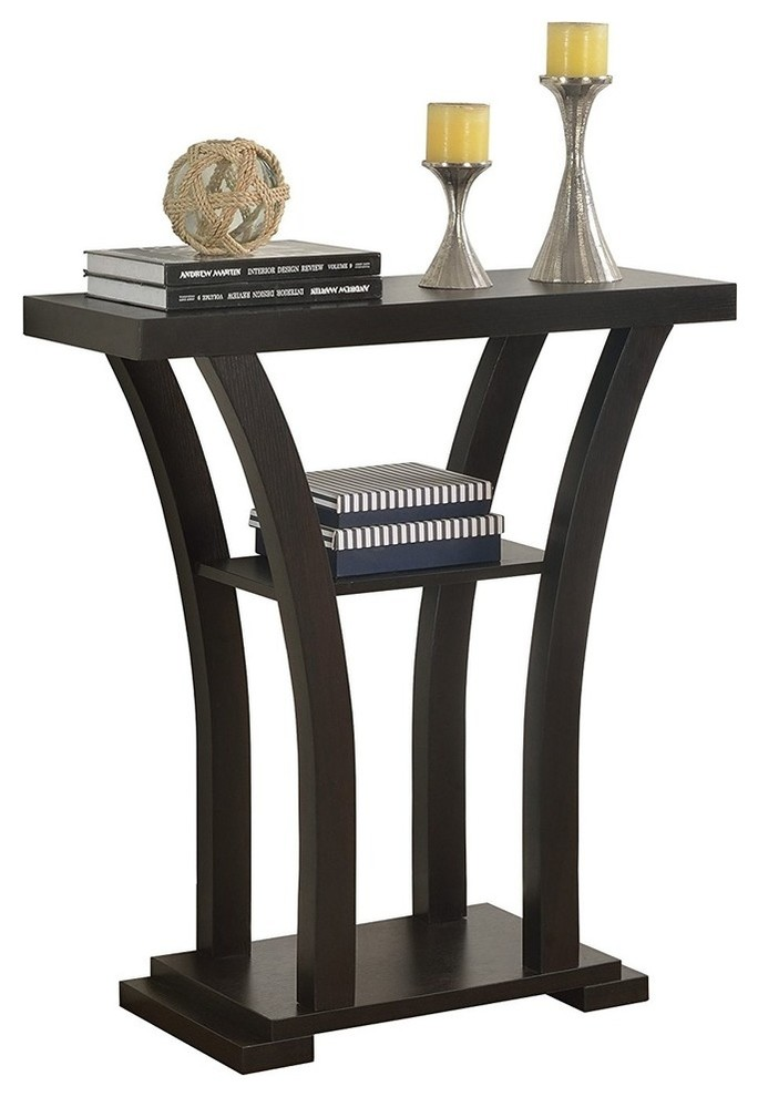 Contemporary Console Table With 2 Bottom Shelves And