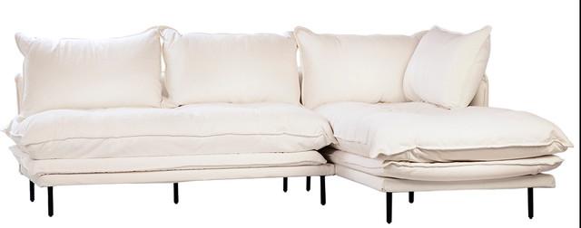 98 Alceo L Shape Sofa Black Iron Legs