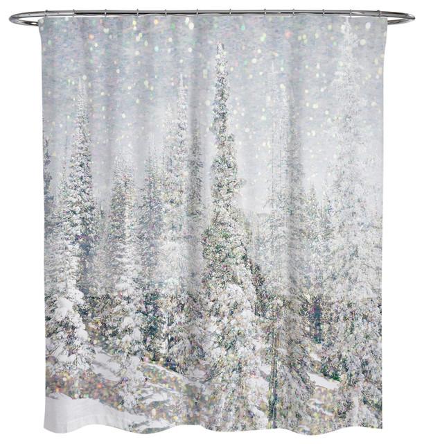 Olivergal Magic Snow Trees Shower Curtain