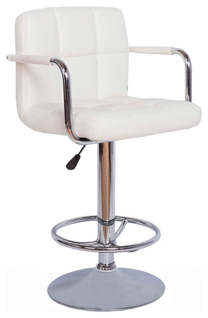 Contemporary White Quilted Vinyl Adjustable Height Bar