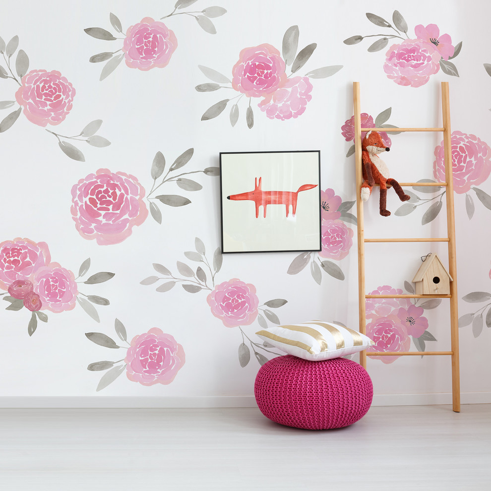 Rosie Peel And Stick Floral Mural Contemporary Wallpaper By