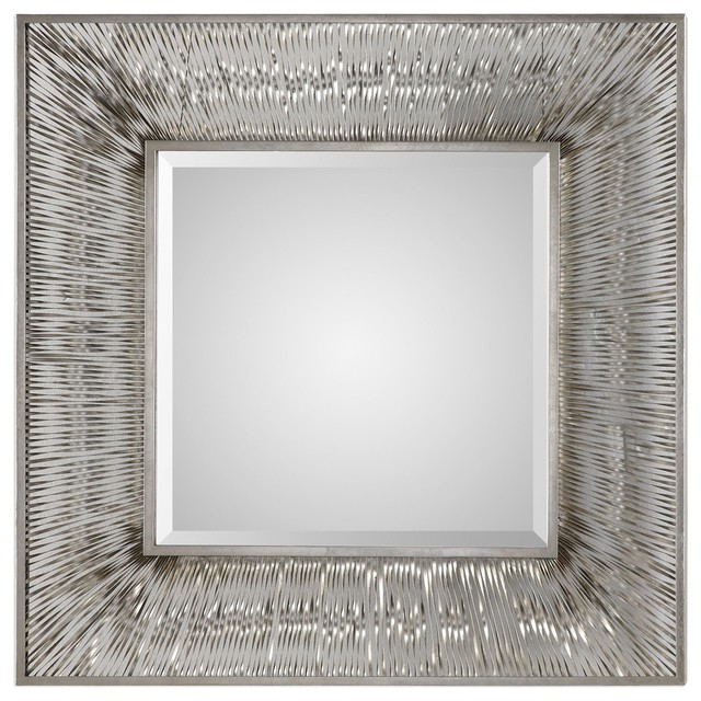 Luxe Retro Silver Metal Strips Wall Mirror 38 Square Vanity