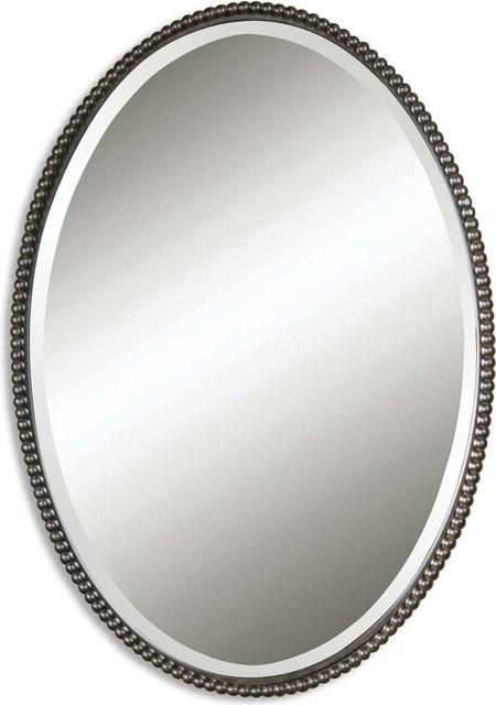 Sherise Bronze Oval Mirror, Bronze. -1