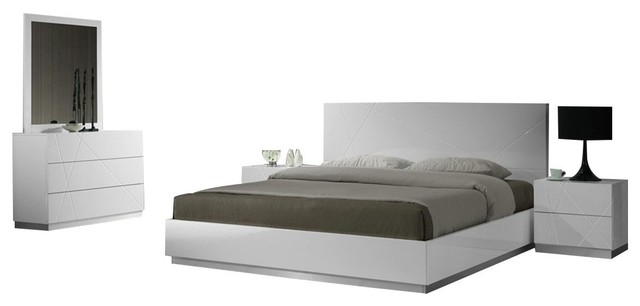 Naples 5 Piece Modern Bedroom Set, White, King