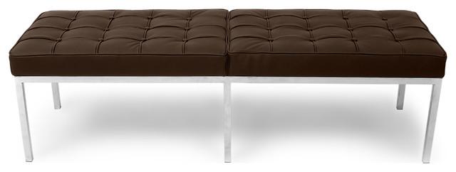 Midcentury Modern Florentine Genuine Leather 3-Seater Bench, Espresso. -1