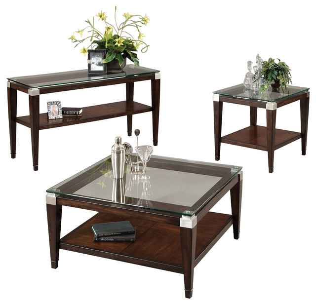 Bassett Mirror T1171 Dunhill Square 3 Piece Coffee Table Set ...