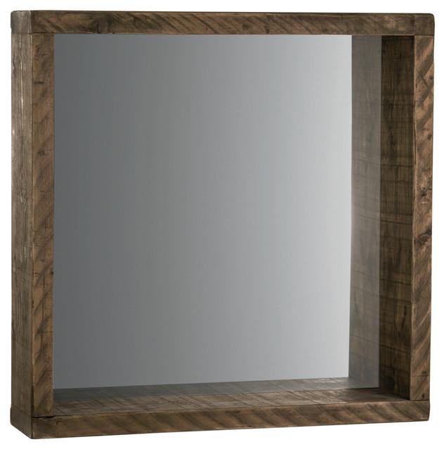 Mediterranean Square Wall Mirror, Dark Wood, 90x90 cm