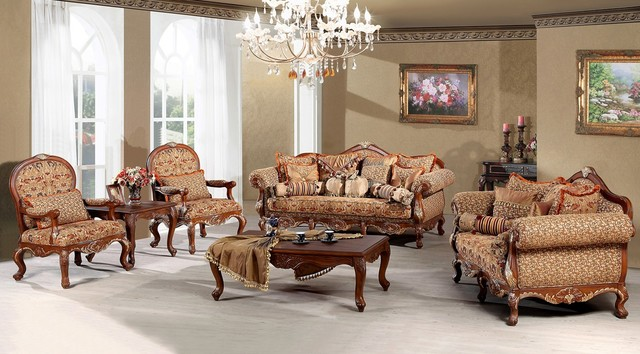 Elegant Traditional Living Room Furniture Creamy Formal Living