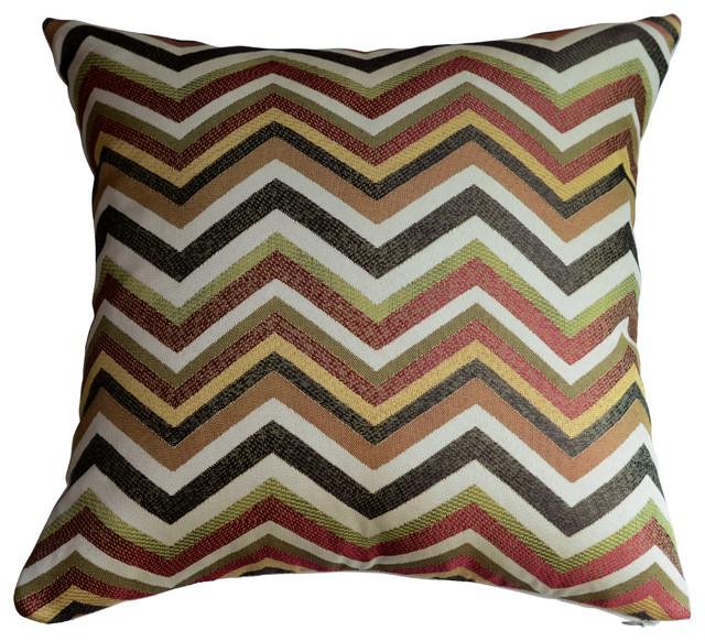 Chevron Pillow Cover Contemporary Decorative Pillows By KH Extraordinary Green Brown Decorative Pillows
