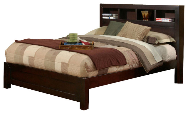 Solana Cal King Platform Bed with Bookcase Headboard