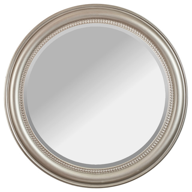 """Camile Round, Beveled Glass, Champagne Wall Mirror, 36""""."""