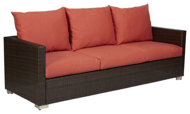 Azura Outdoor Brown Rattan Sofa, Deep Coral.