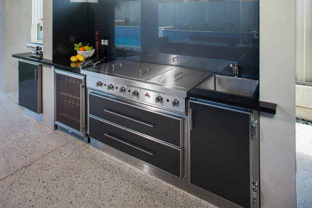 ultra modern outdoor alfresco stainless steel kitchen in perth