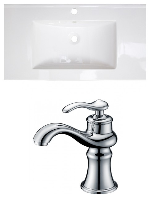 Ceramic Top Set, White Color With Single Hole Cupc Faucet.