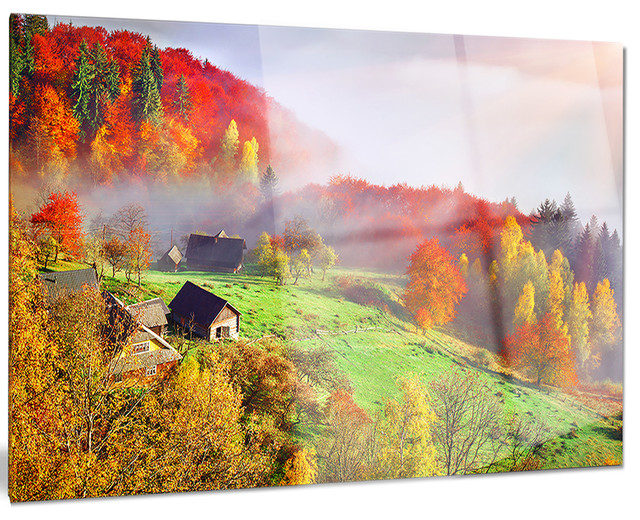 Metal Wall Art Mountain Landscapes : Quot colorful mountain village landscape photo metal wall art